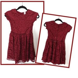 CARTER'S Fancy Lace Dress Burgundy 8
